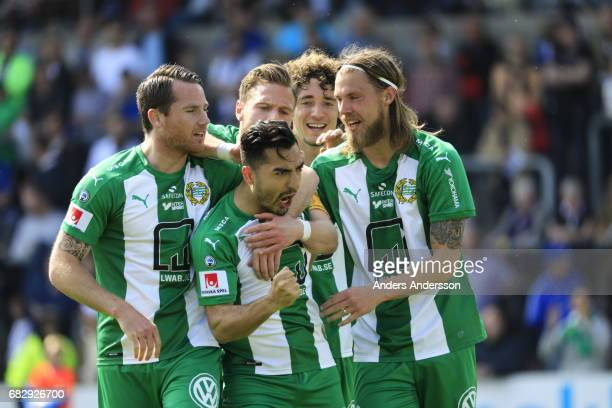 Jiloan Hamad of Hammarby IF scores 02 and celebrates after scoring during the Allsvenskan match between Halmstad BK and Hammarby IF at Orjans Vall on...