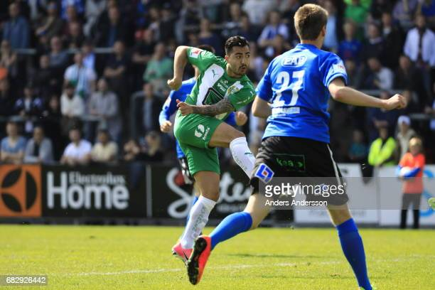 Jiloan Hamad of Hammarby IF scores 02 during the Allsvenskan match between Halmstad BK and Hammarby IF at Orjans Vall on May 14 2017 in Halmstad...