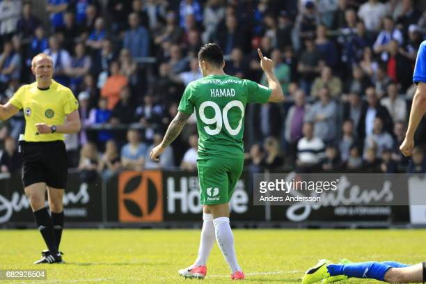 Jiloan Hamad of Hammarby IF scores 02during the Allsvenskan match between Halmstad BK and Hammarby IF at Orjans Vall on May 14 2017 in Halmstad Sweden