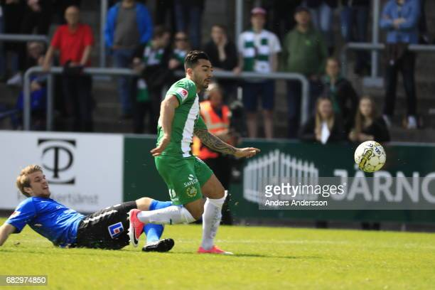 Jiloan Hamad of Hammarby IF scores the opening goal to during the Allsvenskan match between Halmstad BK and Hammarby IF at Orjans Vall on May 14 2017...
