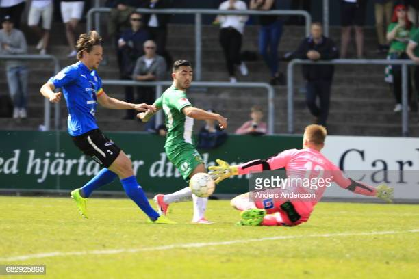 Jiloan Hamad of Hammarby IF scores the opening goal to of Hammarby IF during the Allsvenskan match between Halmstad BK and Hammarby IF at Orjans Vall...