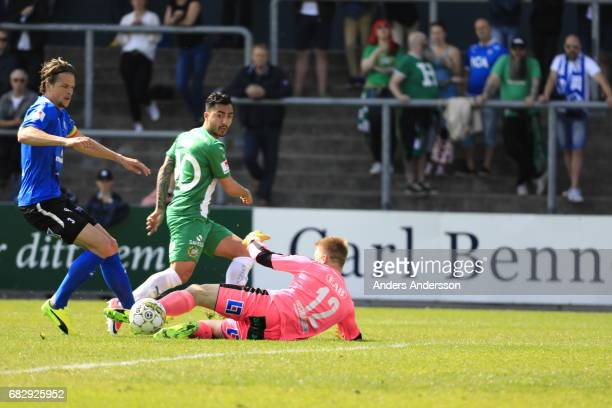 Jiloan Hamad of Hammarby IF scores the opening goal toof Hammarby IF during the Allsvenskan match between Halmstad BK and Hammarby IF at Orjans Vall...