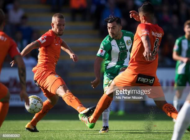 Jiloan Hamad of Hammarby IF shoots during the Allsvenskan match between Athletic FC Eskilstuna and Hammarby IF on August 26 2017 in Eskilstuna Sweden