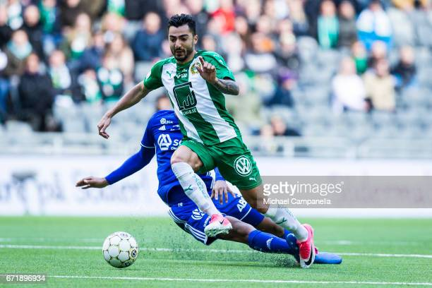Jiloan Hamad of Hammarby IF skips past his marker during an Allsvenskan match between Hammarby IF and GIF Sundsvall at Tele2 Arena on April 23 2017...