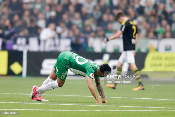 Jiloan Hamad of Hammarby IF strethes during the Allsvenskan match between Hammarby IF and AIK at Tele2 Arena on September 10 2017 in Stockholm Sweden