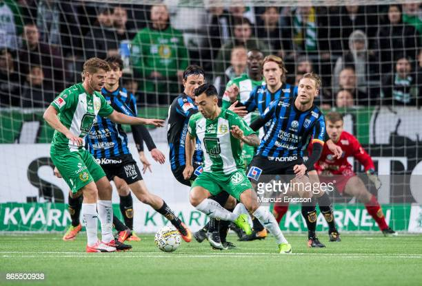 Jiloan Hamad of Hammarby IF takes control over the ball during the Allsvenskan match between Hammarby IF and IK Sirius FK at Tele2 Arena on October...