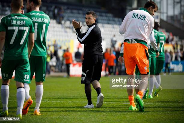 Jiloan Hamad of Hammarby IF thanks the team fans after the Allsvenskan match between Halmstad BK and Hammarby IF at Orjans Vall on May 14 2017 in...
