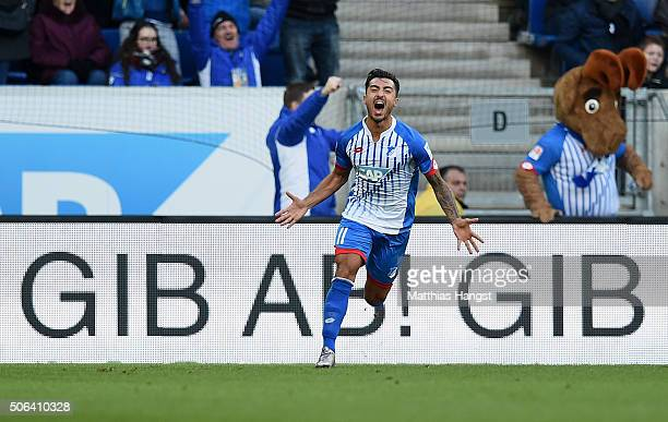Jiloan Hamad of Hoffenheim celebrates after scoring his team's first goal during the Bundesliga match between 1899 Hoffenheim and Bayer Leverkusen at...