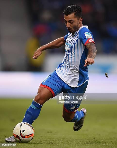Jiloan Hamad of Hoffenheim controls the ball during the Bundesliga match between 1899 Hoffenheim and Bayer Leverkusen at Wirsol RheinNeckarArena on...