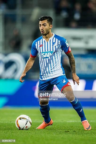 Jiloan Hamad of Hoffenheim controls the ball during the Bundesliga match between 1899 Hoffenheim and SV Darmstadt 98 at Wirsol RheinNeckarArena on...