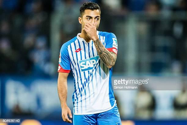Jiloan Hamad of Hoffenheim reacts during the Bundesliga match between 1899 Hoffenheim and SV Darmstadt 98 at Wirsol RheinNeckarArena on February 7...