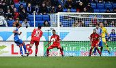 Jiloan Hamad of Hoffenheim scores his team's first goal during the Bundesliga match between 1899 Hoffenheim and Bayer Leverkusen at Wirsol...