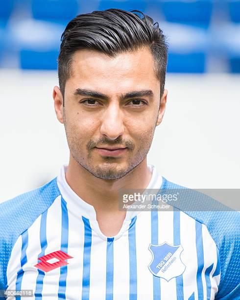 Jiloan Hamad poses during the team presentation of 1899 Hoffenheim at Wirsol RheinNeckarArena on July 14 2015 in Sinsheim Germany