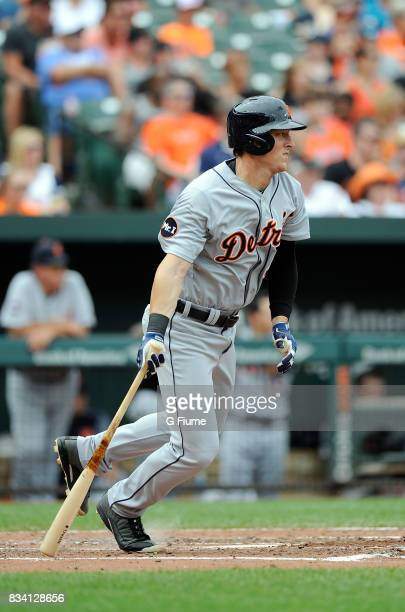 Jim Adduci of the Detroit Tigers bats against the Baltimore Orioles at Oriole Park at Camden Yards on August 6 2017 in Baltimore Maryland
