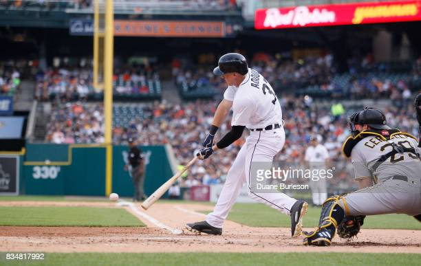 Jim Adduci of the Detroit Tigers bats against the Pittsburgh Pirates during an interleague game at Comerica Park on August 9 2017 in Detroit Michigan