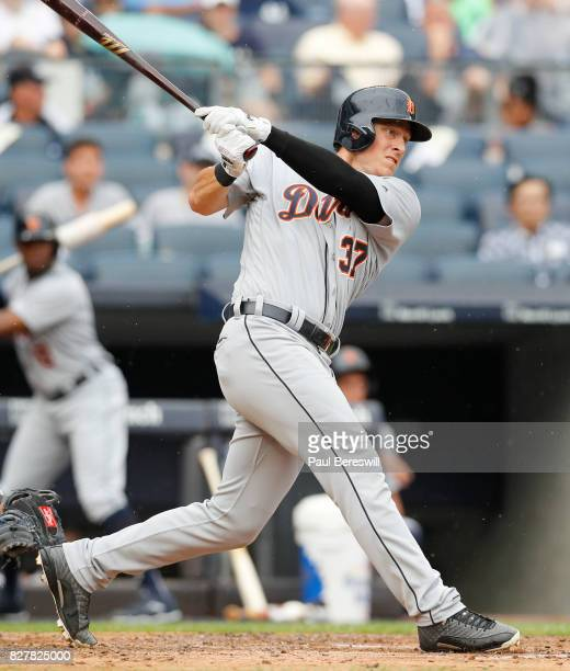 Jim Adduci of the Detroit Tigers bats during an MLB baseball game against the New York Yankees on August 2 2017 at Yankee Stadium in the Bronx...