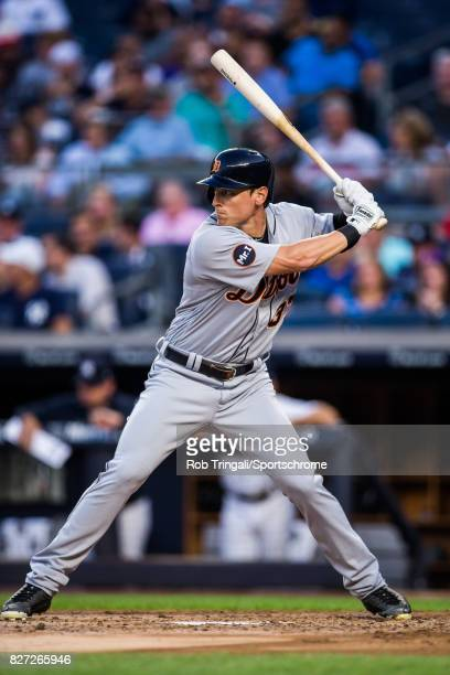 Jim Adduci of the Detroit Tigers bats during the game against the New York Yankees at Yankee Stadium on July 31 2017 in the Bronx borough of New York...