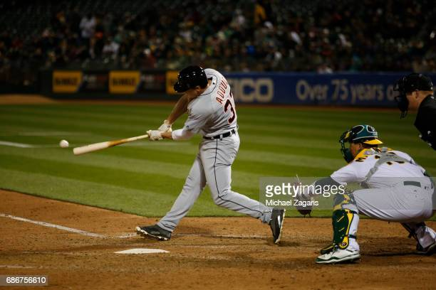 Jim Adduci of the Detroit Tigers bats during the game against the Oakland Athletics at the Oakland Alameda Coliseum on May 5 2017 in Oakland...
