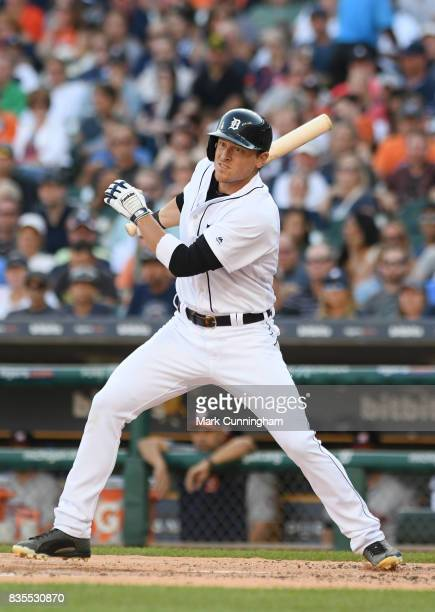 Jim Adduci of the Detroit Tigers bats during the game against the Houston Astros at Comerica Park on July 29 2017 in Detroit Michigan The Tigers...