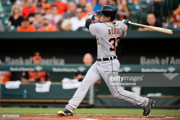 Jim Adduci of the Detroit Tigers hits in the first inning during a game against the Baltimore Orioles at Oriole Park at Camden Yards on August 4 2017...