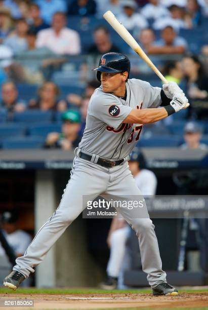 Jim Adduci of the Detroit Tigers in action against the New York Yankees at Yankee Stadium on July 31 2017 in the Bronx borough of New York City The...
