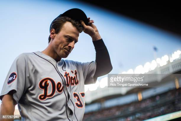 Jim Adduci of the Detroit Tigers looks on during the game against the New York Yankees at Yankee Stadium on July 31 2017 in the Bronx borough of New...