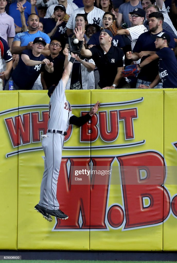 Jim Adduci #37 of the Detroit Tigers makes the catch for the out on a hit by Todd Frazier #29 of the New York Yankees in the sixth inning on July 31, 2017 at Yankee Stadium in the Bronx borough of New York City.