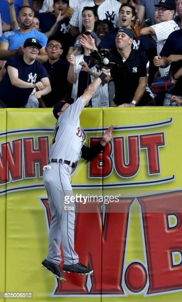 Jim Adduci of the Detroit Tigers makes the catch for the out on a hit by Todd Frazier of the New York Yankees in the sixth inning on July 31 2017 at...