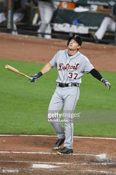 Jim Adduci of the Detroit Tigers takes a swing during a baseball game against the Baltimore Orioles at Oriole Park at Camden Yards on August 5 2017...