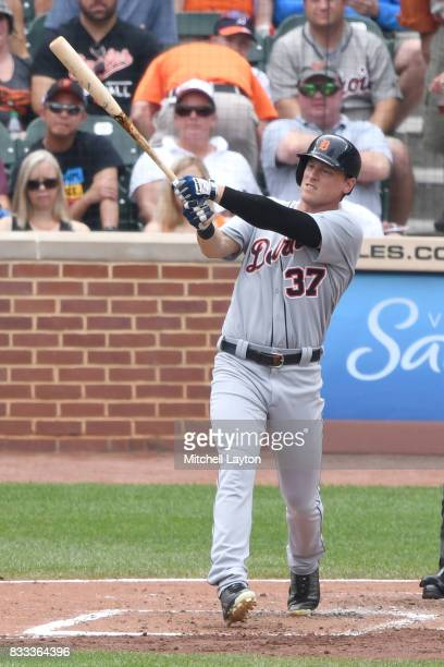 Jim Adduci of the Detroit Tigers takes a swing during a baseball game against the Baltimore Orioles at Oriole Park at Camden Yards on August 6 2017...