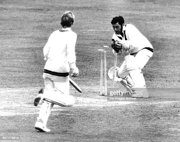 Jim Alldis just fails to make his crease as wicketkeeper Farokh Engineer takes a ball off for no runs