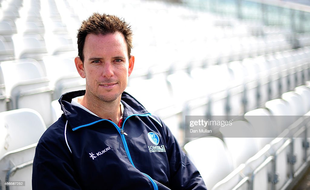 Jim Allenby of Somerset poses during the Somerset CCC Photocall at The County Ground on March 17 2015 in Taunton England