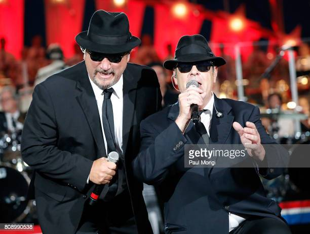 Jim Belushi and Dan Akroyd of The Blues Brothers perform at A Capitol Fourth at US Capitol West Lawn on July 4 2017 in Washington DC