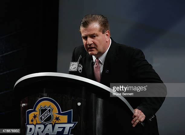 Jim Benning of the Vancouver Canucks attends the 2015 NHL Draft at BBT Center on June 26 2015 in Sunrise Florida