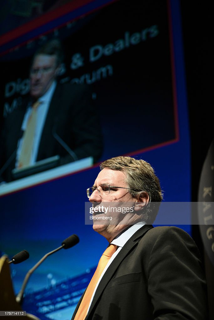 Jim Beyer, chief executive officer of Mount Gibson Iron Ltd., speaks during the Diggers and Dealers mining forum in Kalgoorlie, Australia, on Tuesday, Aug. 6, 2013. The Diggers and Dealers mining forum runs from Aug. 5-7. Photographer: Carla Gottgens/Bloomberg via Getty Images