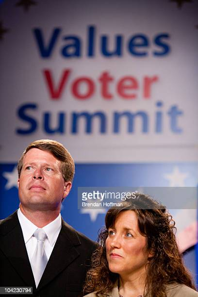 Jim Bob Duggar and Michelle Duggar of The Learning Channel TV show '19 Kids and Counting' speak at the Values Voter Summit on September 17 2010 in...