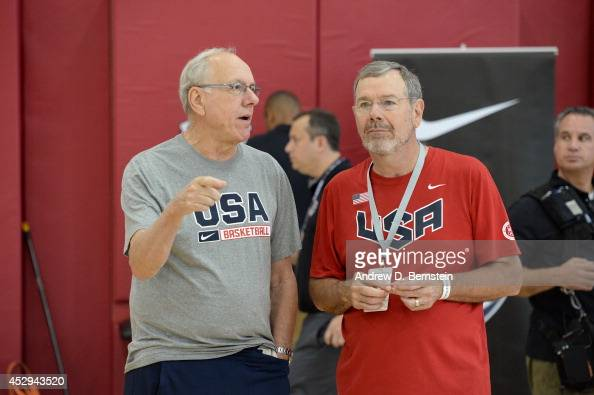 Jim Boeheim and PJ Carlesimo of the USA Mens Basketball team before practice at the Mendenhall Center at the University of Nevada Las Vegas on July...