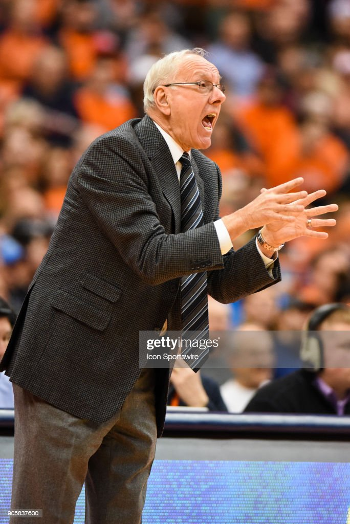 Jim Boeheim Head coach of the Syracuse Orange reacts during the first half of play between the Syracuse Orange and the Pittsburgh Panthers on January 16th, 2018 at the Carrier Dome in Syracuse, NY.