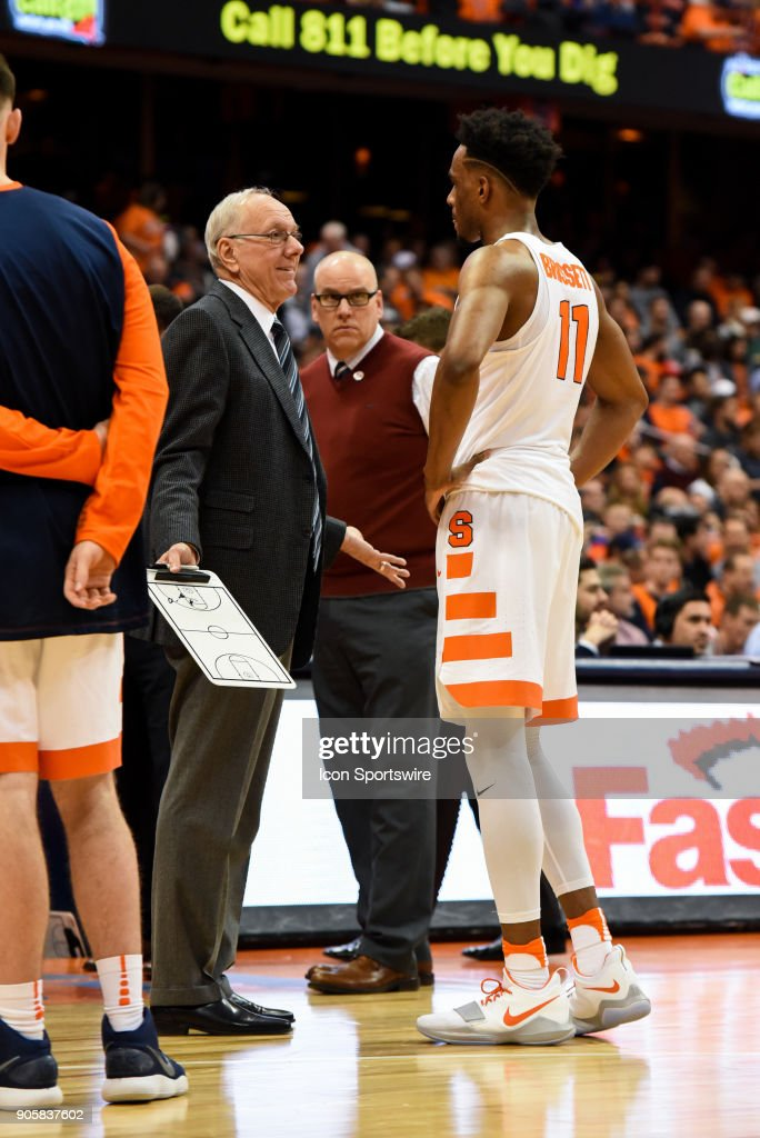 Jim Boeheim Head coach of the Syracuse Orange talks with Oshae Brissett #11 of the Syracuse Orange during the second half of play between the Syracuse Orange and the Pittsburgh Panthers on January 16th, 2018 at the Carrier Dome in Syracuse, NY.