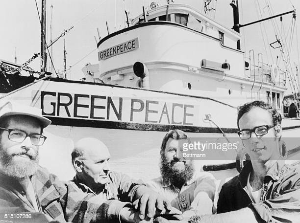Jim Bohlen cocoordinator for Don't Make a Wave Committee with Greenpeace skipper John Cormack and Irving Stowe and Paul Cote of the British Columbia...