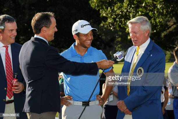 Jim 'Bones' McKay interviews Rob Johnston as Xander Schauffele gets a laugh after the final round of the PGA Tour Championship The Tour Championship...