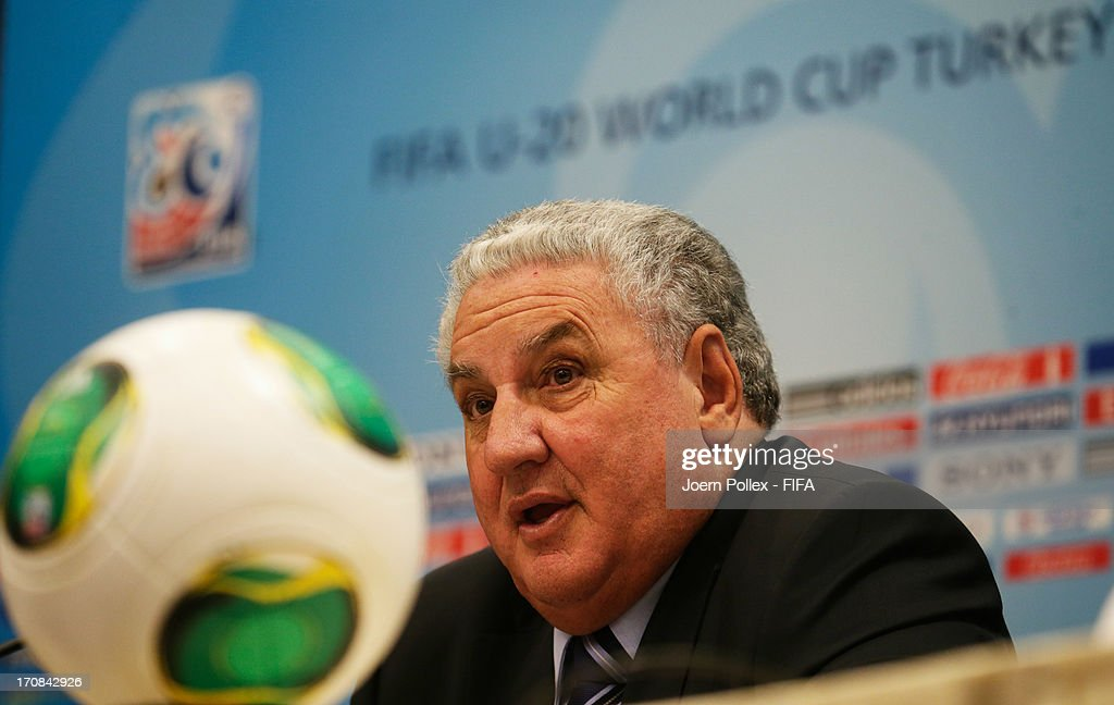 Jim Boyce, Chairman of the FIFA Organising Committee talks to the media during a FIFA press conference ahead of the FIFA U-20 World Cup Turkey 2013 at Ritz Carlton Hotel on June 19, 2013 in Istanbul, Turkey.