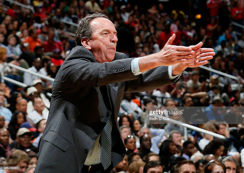 Jim Boylan of the Milwaukee Bucks reacts during the game against the Atlanta Hawks at Philips Arena on April 12, 2013 in Atlanta, Georgia.