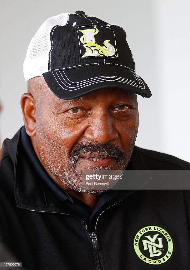 Jim Brown, part owner of the New York Lizards talks to the media prior to a Major League Lacrosse game against the Boston Cannons at James M. Shuart Stadium on April 28, 2013 in Hempstead, New York.