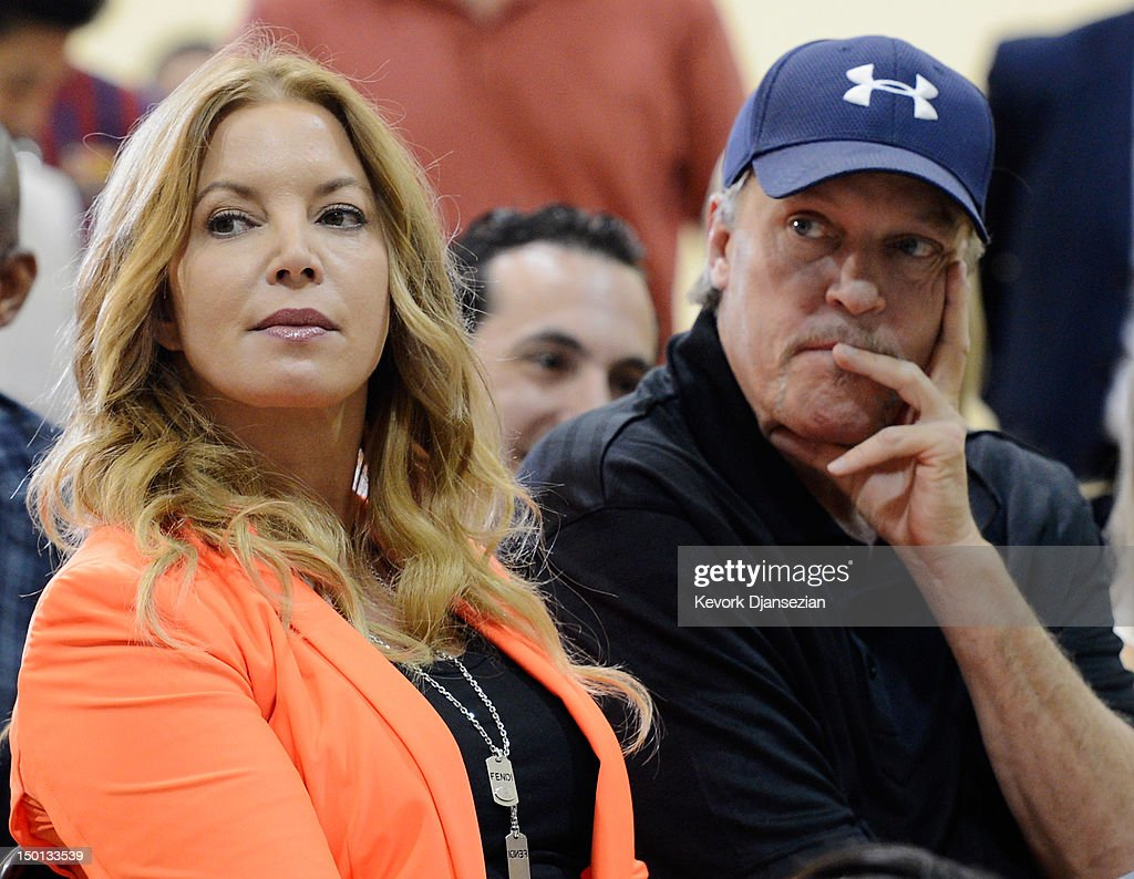 Jim Buss and his sister Jeanie Buss of the Los Angeles Lakers attend a news conference where Dwight Howard was introduced as the newest member of the team at the Toyota Sports Center on August 10, 2012 in El Segundo, California. The Lakers acquired Howard from Orlando Magic in a four-team trade. In addition Lakers will receive Chris Duhon and Earl Clark from the Magic.