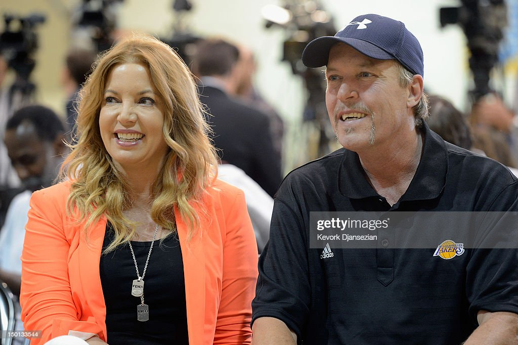 Jim Buss and his sister Jeanie Buss of the Los Angeles lakers attend a news conference where Dwight Howard was introduced as the newest member of the team at the Toyota Sports Center on August 10, 2012 in El Segundo, California. The Lakers acquired Howard from Orlando Magic in a four-team trade. In addition Lakers wil receive Chris Duhon and Earl Clark from the Magic.
