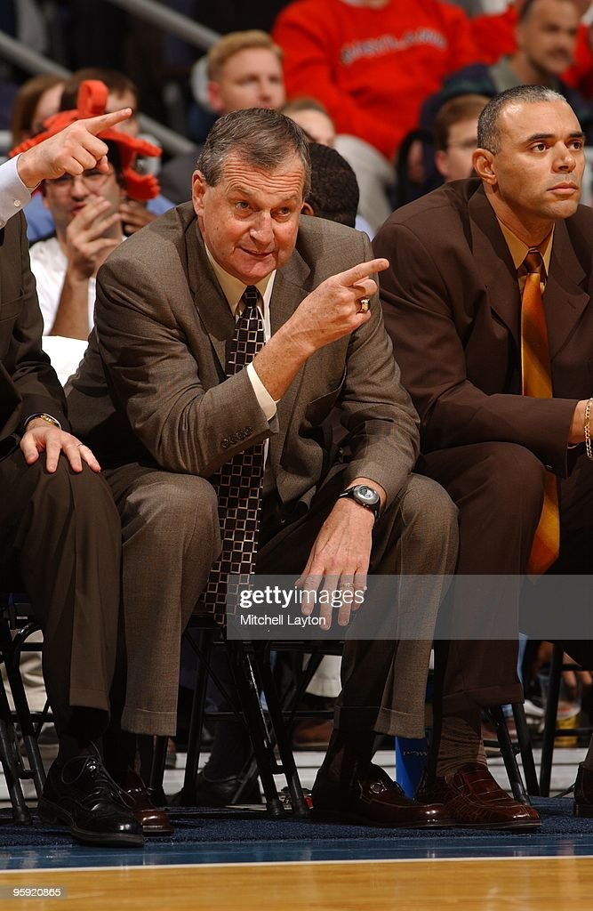 <a gi-track='captionPersonalityLinkClicked' href=/galleries/search?phrase=Jim+Calhoun&family=editorial&specificpeople=208977 ng-click='$event.stopPropagation()'>Jim Calhoun</a>, head coach of the Connecticut Huskies, talks to his players during the BB&T Classic Basketball Tournament against the Maryland Terrapins on December 3, 2001 at the MCI Center in Washington DC.