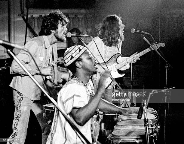 Jim Capaldi Reebop Kwaku Baah and Steve Winwood playing with Traffic at Birmingham Town Hall on 20th March 1973 on their On The Road tour