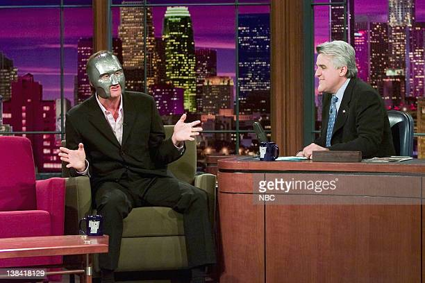 LENO Jim Carrey Air Date Episode 2490 Pictured Actor Jim Carrey wearing a mask during an interview with host Jay Leno on May 15 2000