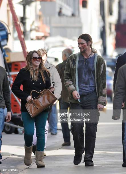 Jim Carrey and his daughter Jane are seen on the movie set of 'The Incredible Burt Wonderstone' on January 24 2012 in Los Angeles California